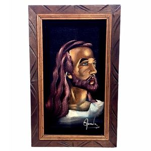 70s Black Velvet Oil Painting: Green-Eyed Jesus
